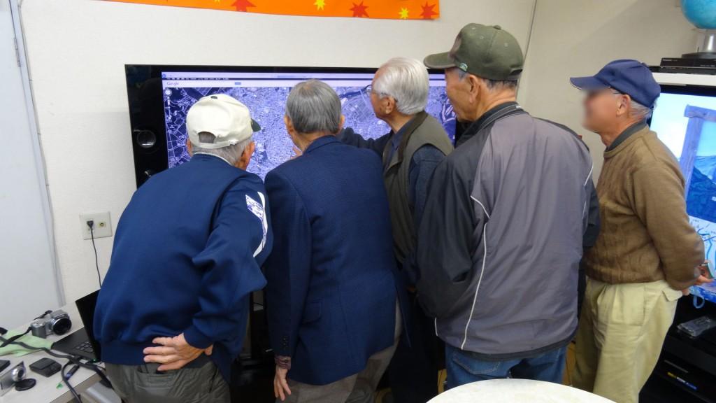 4Kテレビで豊田市の地図を見ているところです。